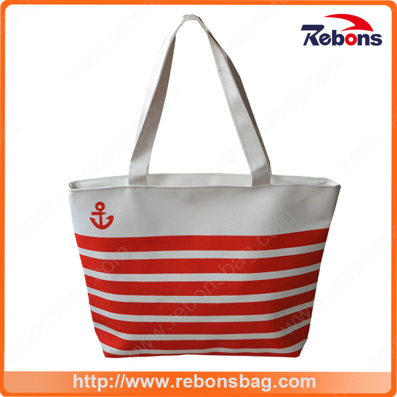 New Products Custom Navy Striped Canvas Bags Shopping Bag Women Handbags