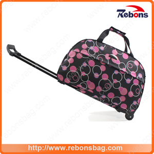 Multifunctional Oversized Allover Printed Trolley Bag Travel Bag Luggage Rolling Backpack