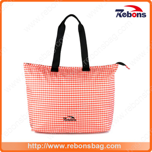 2017 New Designer Fashion Pink Grid Tote Women Hand Bag