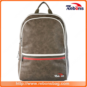New Designed Men PU Leather Sport Backpack Bag for Travel School