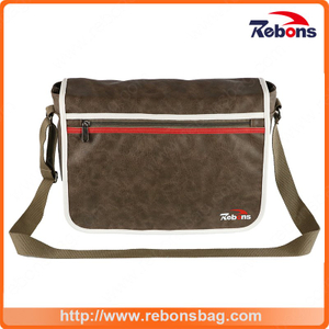 Male PU Sling Leather Laptop Shoulder Long Strap Bag