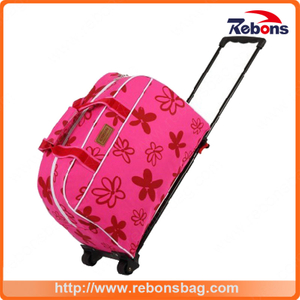 New Designed Flower Silk-Screen Trolley Bag Trolley Luggage Bag with Ripstop