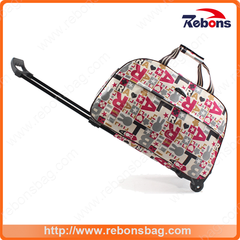 New Design Assorted Printed Durable Rabbit Silk-Creen Trolley Bags for Sports