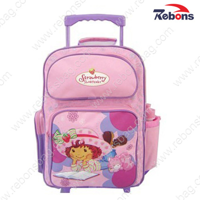 Pink Girls Trolley Wheels Backpack School Bags with Bottle Pocket