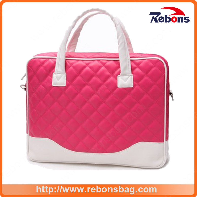 High Quality PU Ladies Stitching Color Embroidery Cute Laptop Bag with Full Lining and Foam Padded Inside The Bag