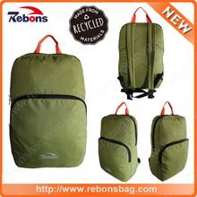 Waterproof RPET green travel hiking backpack bag made from recycled bottles