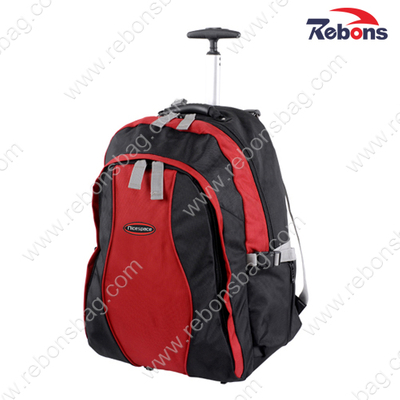 Custom Black Polyester Rucksack Trolley Wheeled Rolling Bag