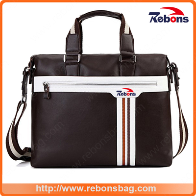 High Quality Men′s Spill-Proof High-Capacity Briefcase Business Oxford Cloth Computer Captop Bags with Striped and One Big Front Zipper Pocket